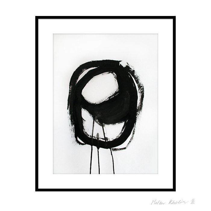 6 space 6 helen kholin graphic hvid og sort ink paa papir 30x40 ramme