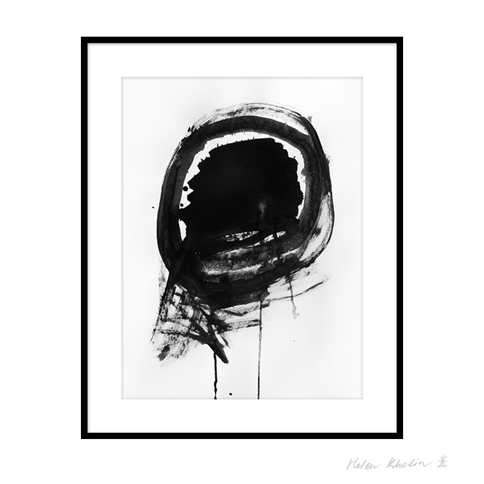9 space 9 helen kholin graphic hvid og sort ink paa papir 30x40 ramme