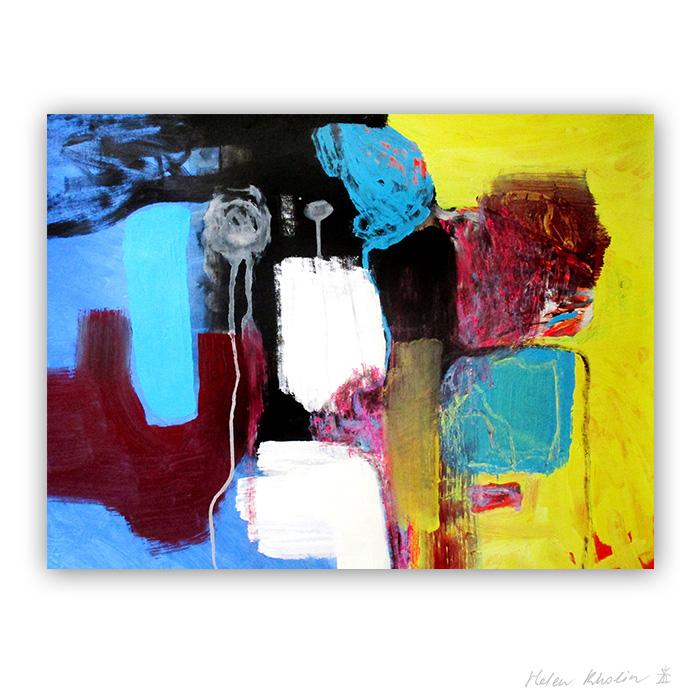 3 nose in the wind macro world abstrakte malerier i staerke farver til salg painting helen kholin