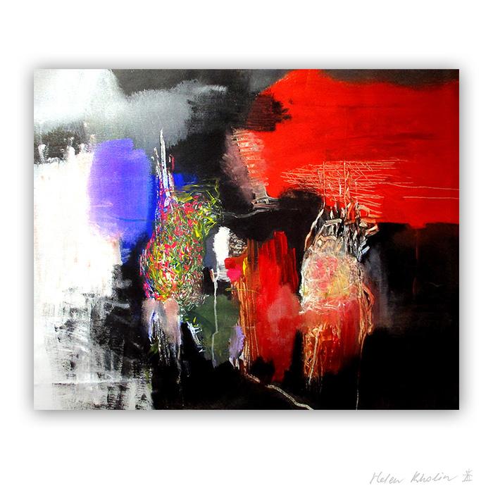 7 voices of the city 100x80 macro world abstrakte malerier i staerke farver til salg boligkunst helen kholin