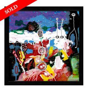 3 Alien human and magic flower helen kholin sold art solgt kunst maleri