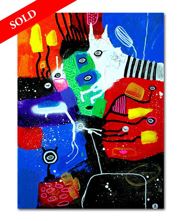 5 People and Magical zebra helen kholin sold art solgt kunst maleri