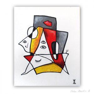1 People and chess abstrakt maleri 60×50 cm artseries eyes 1 by helen kholin til salg painting