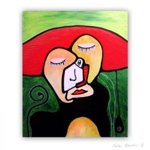 10 dream together abstrakt maleri til salg 60×50 cm artseries eyes10 by helen kholin