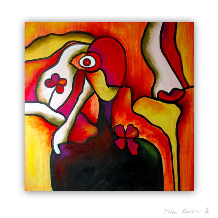 14 Girl with flowers abstrakt maleri 100×100 cm artseries eyes 14 by helen kholin
