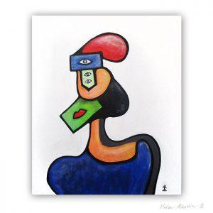 3 Woman and ideas abstrakt maleri 60×50 cm artseries eyes 3 by helen kholin til salg painting