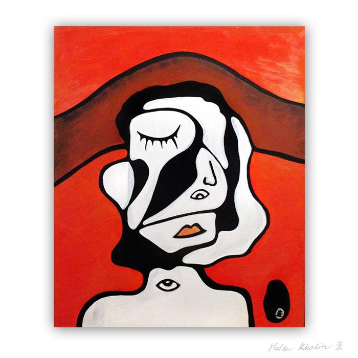 5 oblivion abstrakt maleri 60×50 cm artseries eyes 5 by helen kholin til salg painting