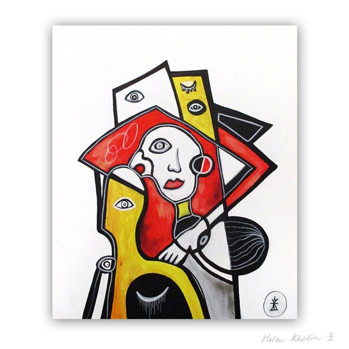 6 man and yellow figure abstrakt maleri 60×50 cm artseries eyes 6 by helen kholin sold solgt