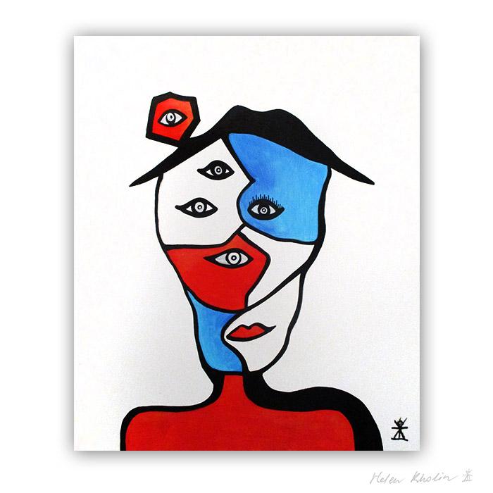 9 Three worlds abstrakt maleri 60×50 cm artseries eyes 9 by helen kholin til salg painting