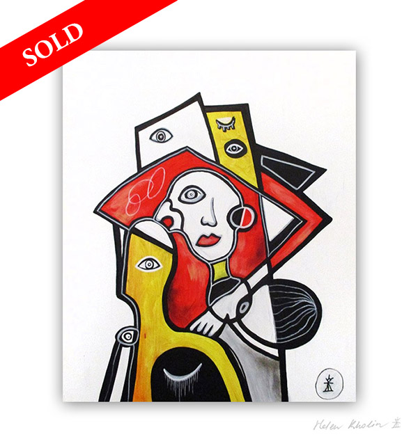 man and yellow figure eyes 6 sold painting solgt helen kholin