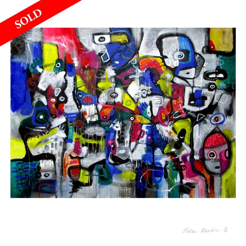 1-1-Great-Adventure-of-People-helenkholin-store abstrakte malerier- 200cmx150cm