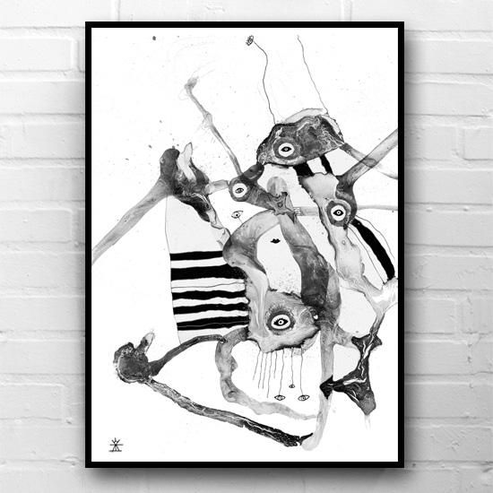 1-night-thoughts-hvid-og-sort-kunsttryk-print-med-kunst-ufoprint-art-prints-boligkunst-helen-kholin