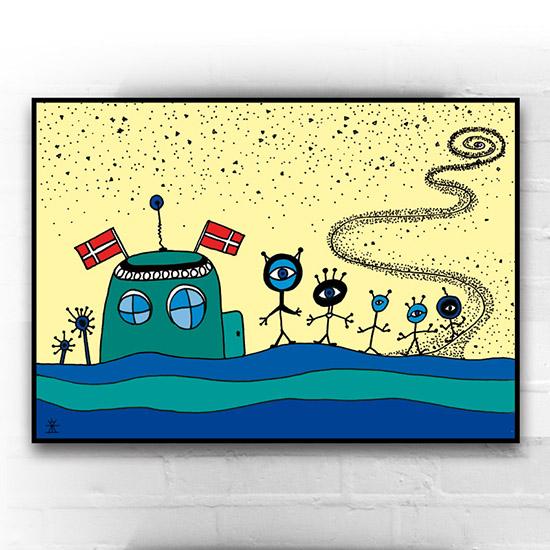 12-aliens-friends-go-on-birthday-ufo-love-kunsttryk-print-med-kunst-ufoprint-art-prints-boligkunst-helen-kholin