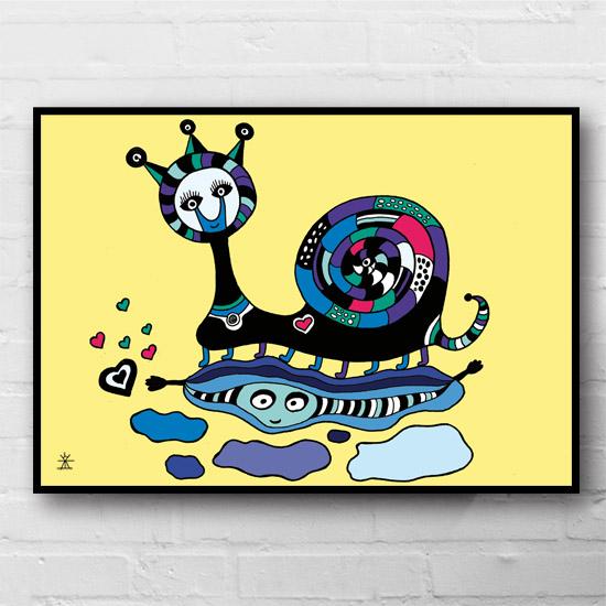 6-Snail-in-love-ufo-love-kunsttryk-print-med-kunst-ufoprint-art-prints-boligkunst-helen-kholin