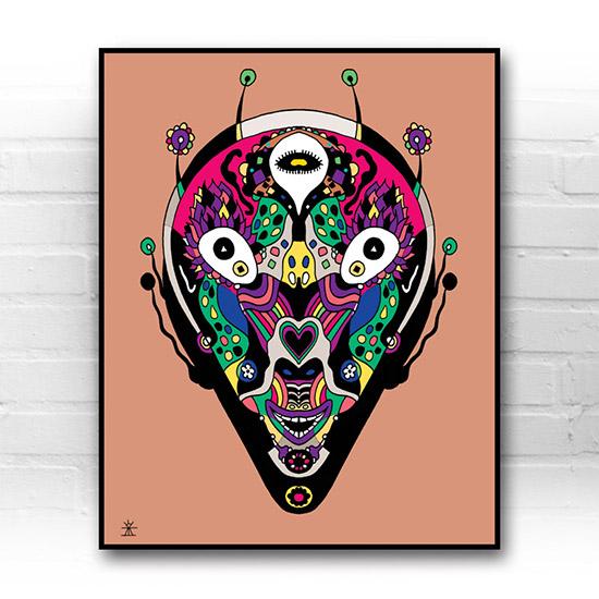 ufo-face-2calavera-kunstprint-artprint-prints-helen-kholin-aliens-kunsttryk-grafiskeprint