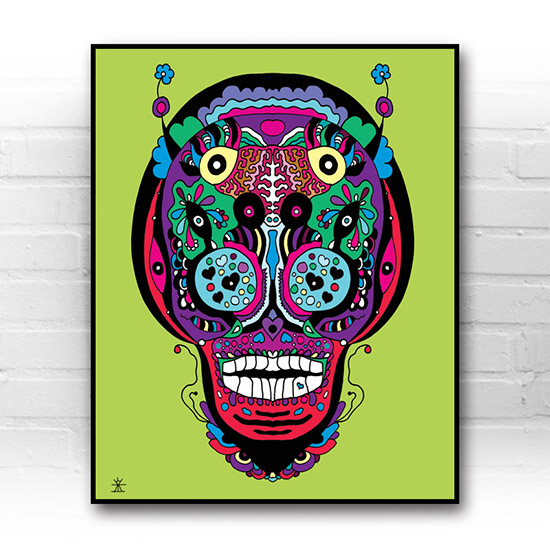 ufo-face-3calavera-kunstprint-artprint-prints-helen-kholin-aliens-kunsttryk-grafiskeprint