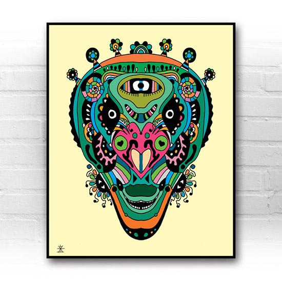 ufo-face-5-calavera-kunstprint-artprint-prints-helen-kholin-aliens-kunsttryk-grafiskeprint