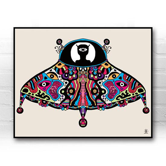 ufo-face-9-Unidentified-flying-artobject-calavera-kunstprint-artprint-prints-helen-kholin-aliens-kunsttryk-grafiskeprint